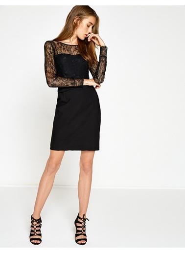 Dantel Detaylı Kısa Elbise-Koton